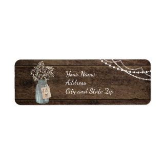 Rustic Wood Baby's Breath Mason Jar Wedding