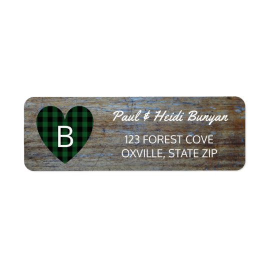Rustic Wood Barn Wedding Label | Green Plaid Heart Return Address Label