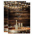 Rustic Wood Barrel & Lights Champagne Anniversary Card