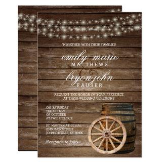 Rustic Wood Barrel Wedding Card