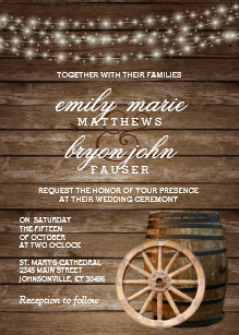 Barrel invitations announcements zazzle rustic wood barrel wedding invitation stopboris Choice Image