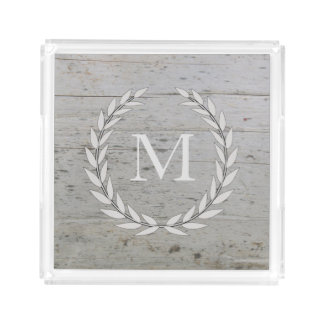 Rustic wood beach driftwood olive wreath monogram acrylic tray