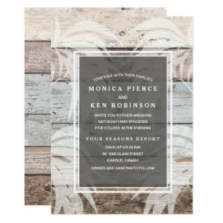 Rustic Wood Beach Palm Tree Wedding Invite