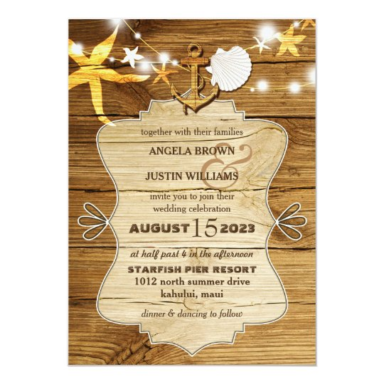 Rustic Wood Beach Starfish Nautical Wedding Card