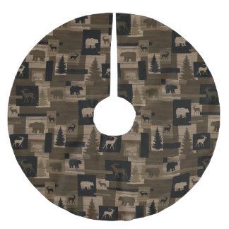 Rustic wood bear moose pattern tree skirt brushed polyester tree skirt