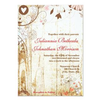 Rustic Wood Birdcage Wedding Invitation