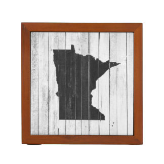 Rustic Wood Black and White Minnesota State Desk Organiser