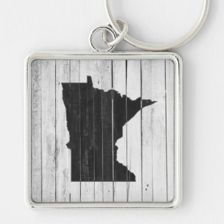 Rustic Wood Black and White Minnesota State Key Ring