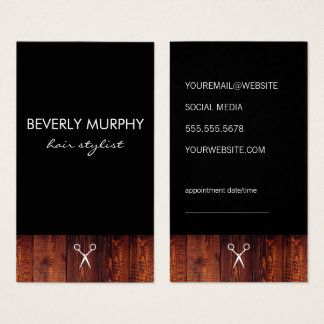 Rustic Wood Black with Shear Logo Appointment Business Card
