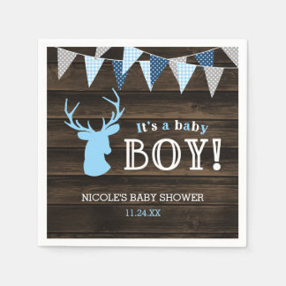 Rustic Wood Blue Deer Boy Baby Shower Paper Napkins