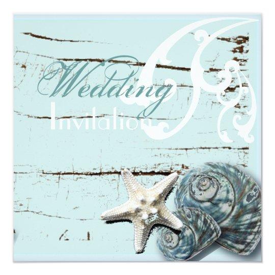 Rustic Wood blue Seashell Coastal Beach Wedding Card