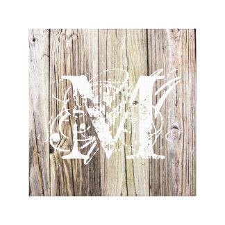 Rustic Wood Boards with Monogram Canvas Print