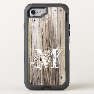 Rustic Wood Boards with Shabby Chic Monogram OtterBox Defender iPhone 8/7 Case