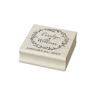 Rustic Wood & Botanical Leaves Wedding Stationery Rubber Stamp