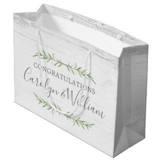 Rustic Wood & Botanical Wedding Congratulations Large Gift Bag