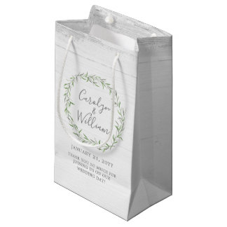 Rustic Wood & Botanical Wreath Wedding Favor Bag