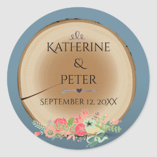 Rustic Wood Bouquet - Circle Sticker