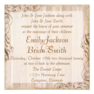 Rustic wood brown theme wedding invitations