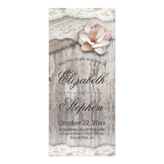 Rustic Wood Burlap Lace Floral Wedding Program Rack Card