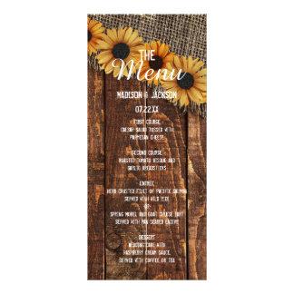 Rustic Wood Burlap Sunflower Country Wedding Menu