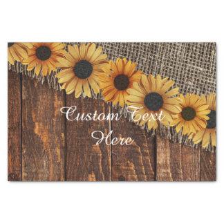 Rustic Wood & Burlap Sunflower Custom Wedding Tissue Paper