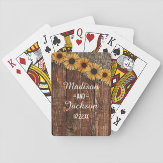 Rustic Wood & Burlap Sunflower Wedding Favor Playing Cards