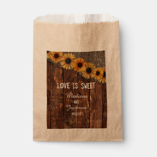 Rustic Wood Burlap Sunflower Wedding Love is Sweet Favour Bags
