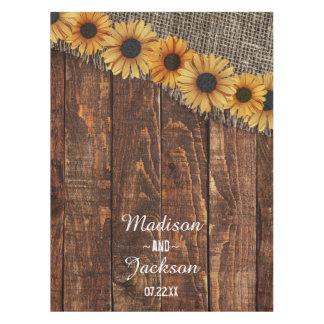 Rustic Wood & Burlap Sunflower Wedding Monogram Tablecloth