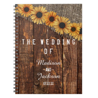 Rustic Wood & Burlap Sunflower Wedding Planner Notebook