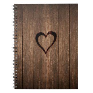 Rustic Wood Burned Heart Print Notebook