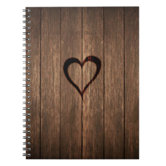 Rustic Wood Burned Heart Print Spiral Notebook