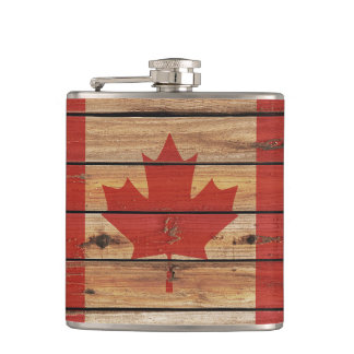 Rustic Wood Canada Flag Hip Flask