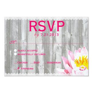 "Rustic Wood & Chevron Lotus Flower RSVP Card 3.5"" X 5"" Invitation Card"