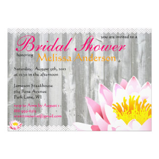 Rustic Wood  Chevron water Lily Bridal Shower Invite
