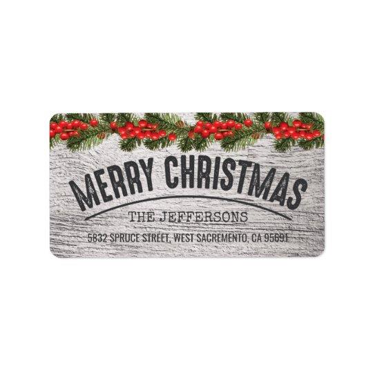 Rustic Wood Christmas Joy Label