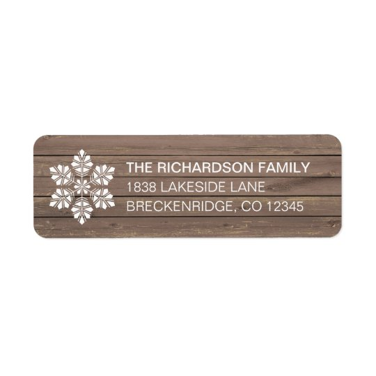 Rustic Wood Christmas Snow Return Address Label