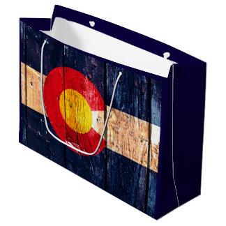 Rustic wood Colorado flag gift bag