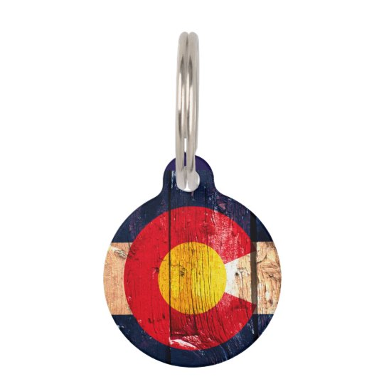 Rustic wood Colorado flag pet tag