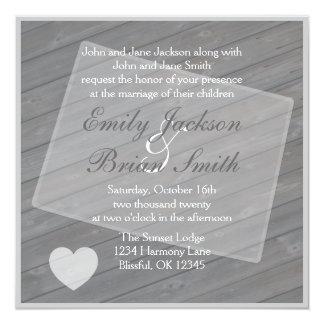 Rustic wood Colorado gray wedding invitations