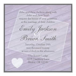 Rustic wood Colorado purple wedding invitations