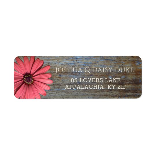 Rustic Wood Coral Daisy | Country Wedding Labels