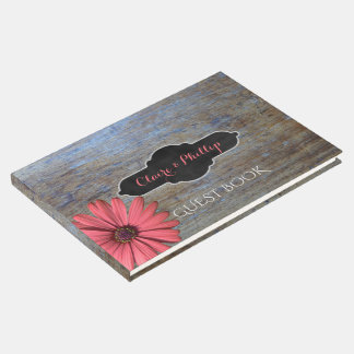 Rustic Wood | Coral Daisy Wedding Guest Book