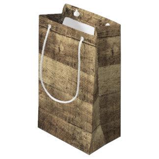 Rustic Wood Country Barn Boards Farm Wedding Favor Small Gift Bag