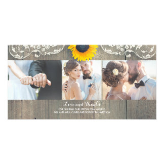 Rustic Wood Country Barn Sunflower Lace Thank You Customised Photo Card