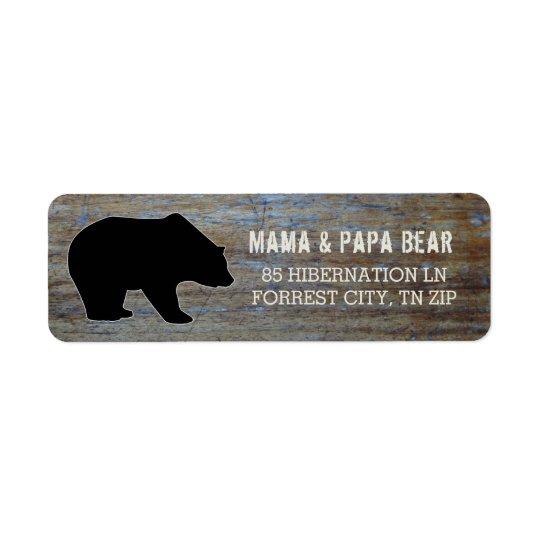 Rustic Wood | Country Black Bear Silhouette Return Address Label