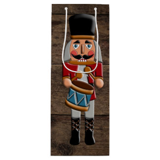 Rustic Wood Country Christmas Nutcracker Wine Gift Bag