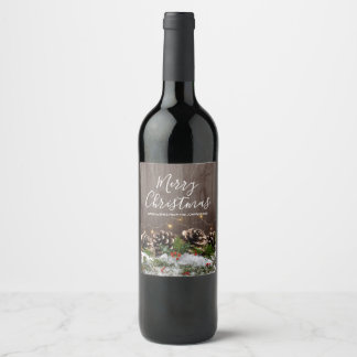Rustic Wood Country Pines Lights & Snow Christmas Wine Label
