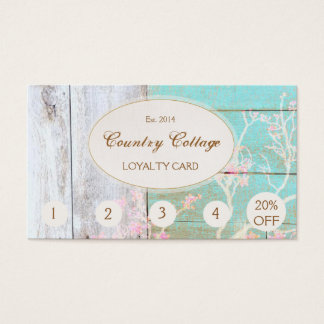 Rustic Wood Country Vintage Boutique Punch Loyalty Business Card