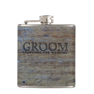 Rustic Wood Country Wedding Favor | Funny Groom Flasks