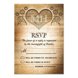 rustic wood country wedding RSVP 9 Cm X 13 Cm Invitation Card